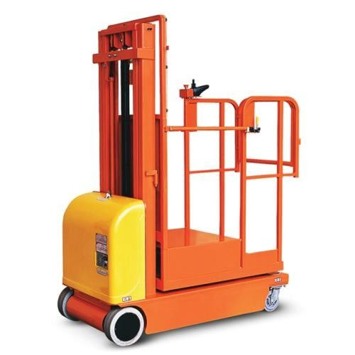 Safety Brackets Electric Aerial Order Picker Forklift Customized Color