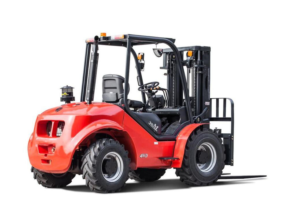 2.5 - 3 Ton Red Small Rough Terrain Forklift , Steel 4