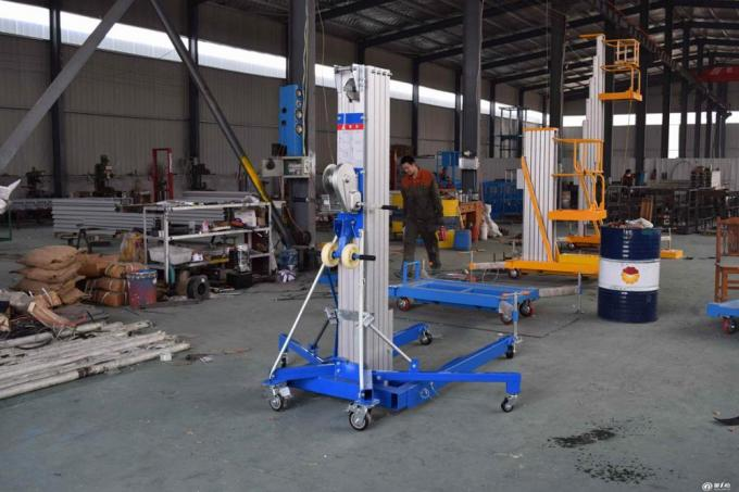 Portable Manual Pallet Stacker Aluminium Cylinder Type Manual Material Lift 6000mm Max Lift Height