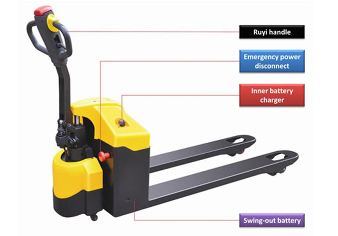 Horizontal Driving Wheel Motorised Pallet Jack , Balanced Semi Electric Pallet Jack