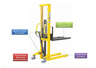 1500kg Capacity Manual Pallet Stacker For Short Distance Transportation