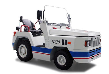 China TD30 White Color Steel Electric Aircraft Tow Tractor , Electric Platform Truck Electric Tow Tugs factory